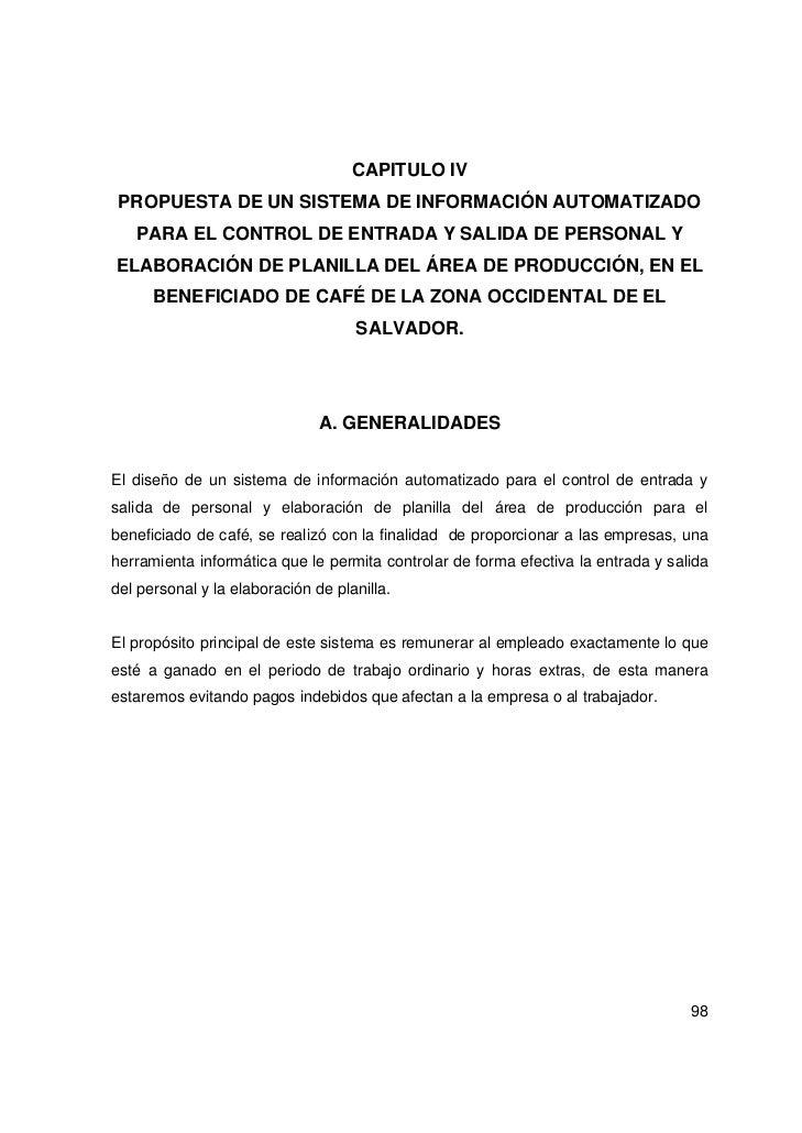 CAPITULO IV PROPUESTA DE UN SISTEMA DE INFORMACIÓN AUTOMATIZADO   PARA EL CONTROL DE ENTRADA Y SALIDA DE PERSONAL YELABORA...