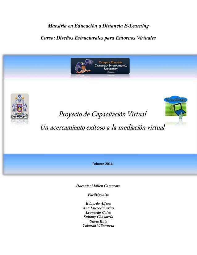 Maestría en Educación a Distancia E-Learning Curso: Diseños Estructurales para Entornos Virtuales  Docente: Mailen Camacar...
