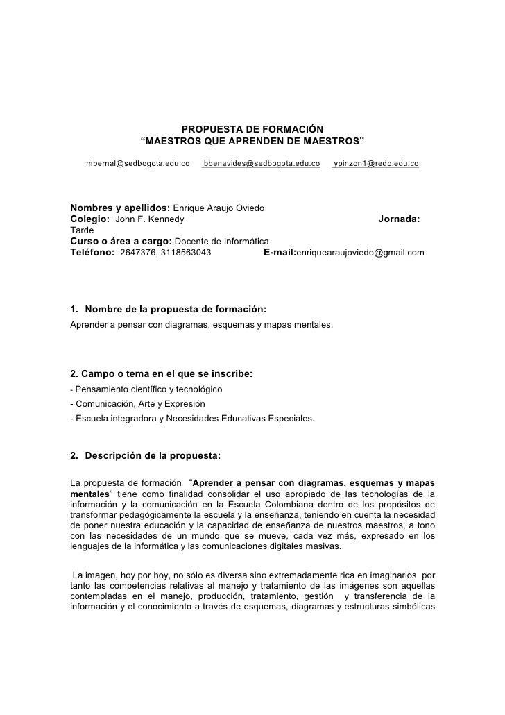 """PROPUESTA DE FORMACIÓN                  """"MAESTROS QUE APRENDEN DE MAESTROS""""      mbernal@sedbogota.edu.co     bbenavides@s..."""