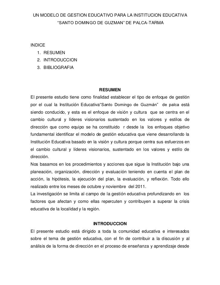 "UN MODELO DE GESTION EDUCATIVO PARA LA INSTITUCION EDUCATIVA              ""SANTO DOMINGO DE GUZMAN"" DE PALCA-TARMAINDICE  ..."