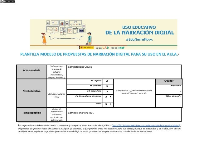 PLANTILLA MODELO DE PROPUESTAS DE NARRACIÓN DIGITAL PARA SU USO EN EL AULA.1 Área o materia (Indicar área o materia de est...