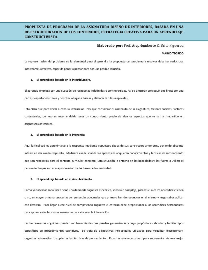 Propuesta de programa diseno de interiores for Programa de diseno de interiores