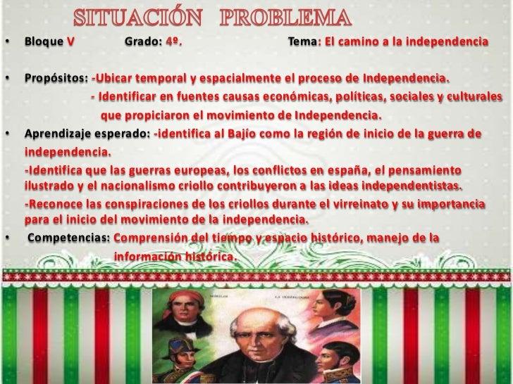SITUACIÓN   PROBLEMA<br /><ul><li>BloqueV Grado: 4º.Tema: El camino a la independencia