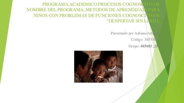 PROGRAMA ACADEMICO PROCESOS COGNOSCITIVOS NOMBRE DEL PROGRAMA_METODOS DE APRENDIZAJE PARA NIÑOS CON PROBLEMAS DE FUNCIONES...