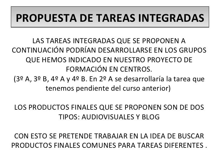 Propuesta de tareas integradas