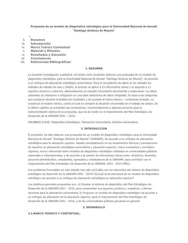 Propuesta de un modelo de diagnóstico estratégico para la universidad nacional de ancash