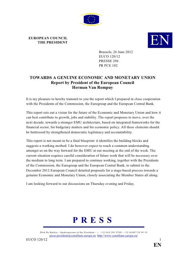 Propuesta de Van Rompuy de cara al Consejo europeo del 28.06.12