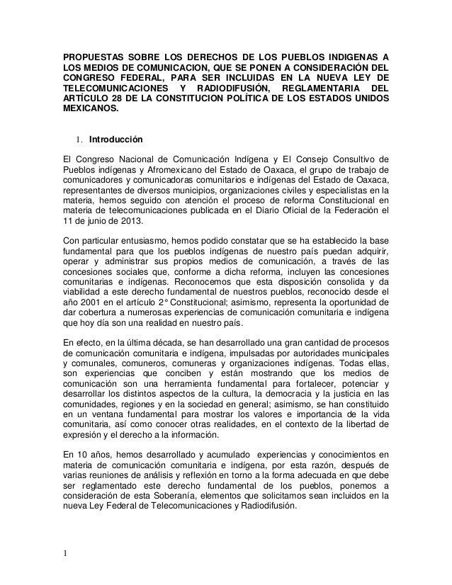 PROPUESTAS SOBRE LOS DERECHOS DE LOS PUEBLOS INDIGENAS A LOS MEDIOS DE COMUNICACION, QUE SE PONEN A CONSIDERACIÓN DEL CONG...