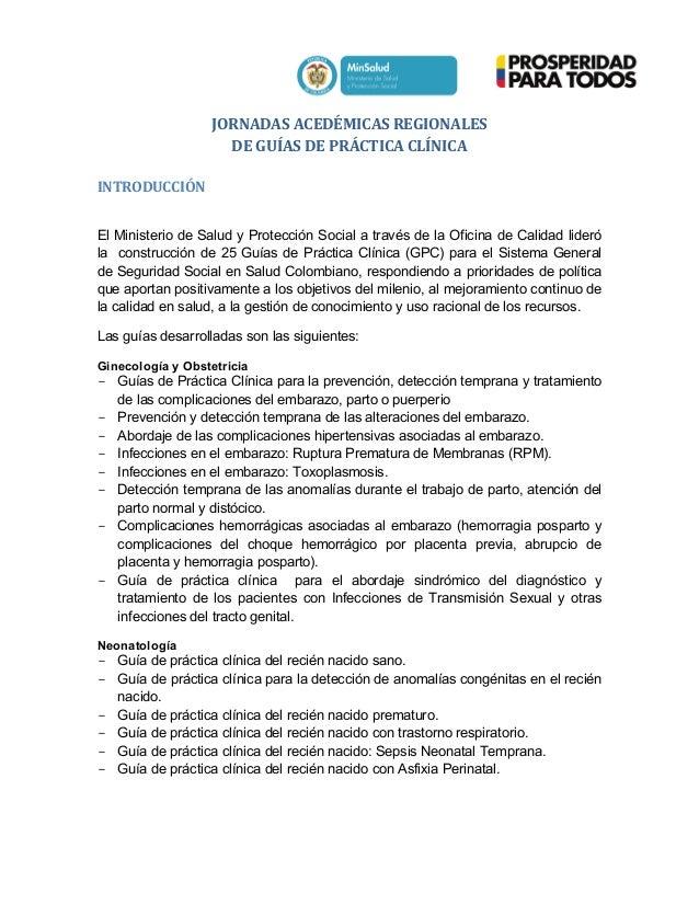 JORNADAS  ACEDÉMICAS  REGIONALES       DE  GUÍAS  DE  PRÁCTICA  CLÍNICA      INTRODUCCIÓ...