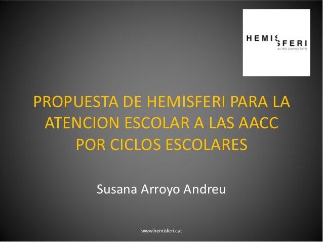 PROPUESTA DE HEMISFERI PARA LA ATENCION ESCOLAR A LAS AACC POR CICLOS ESCOLARES Susana Arroyo Andreu www.hemisferi.cat