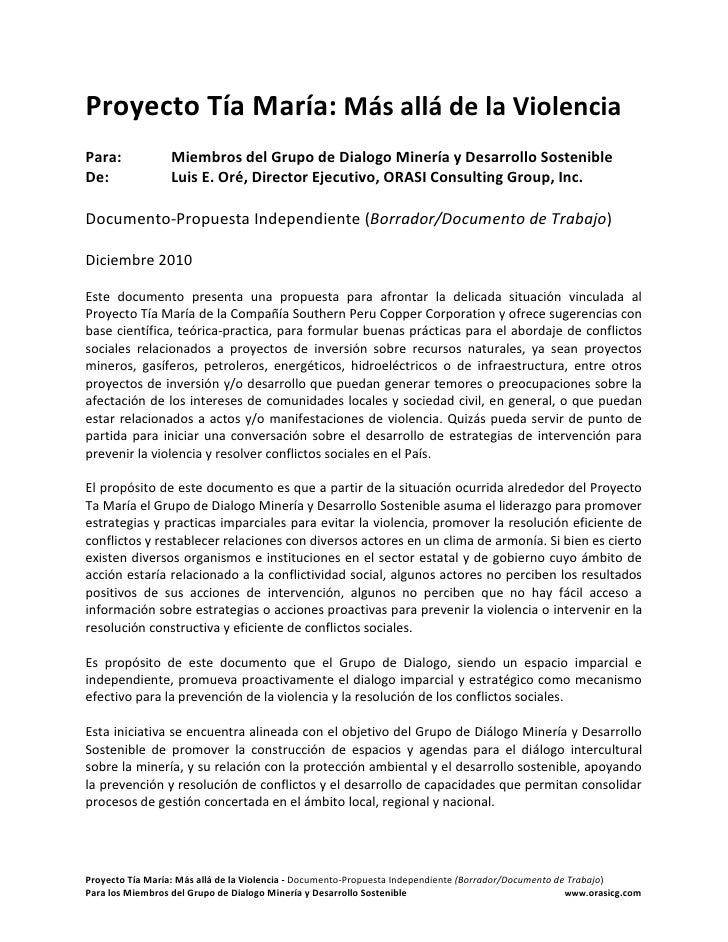 Propuesta independiente prevencion de violencia proyecto tia maria  peru
