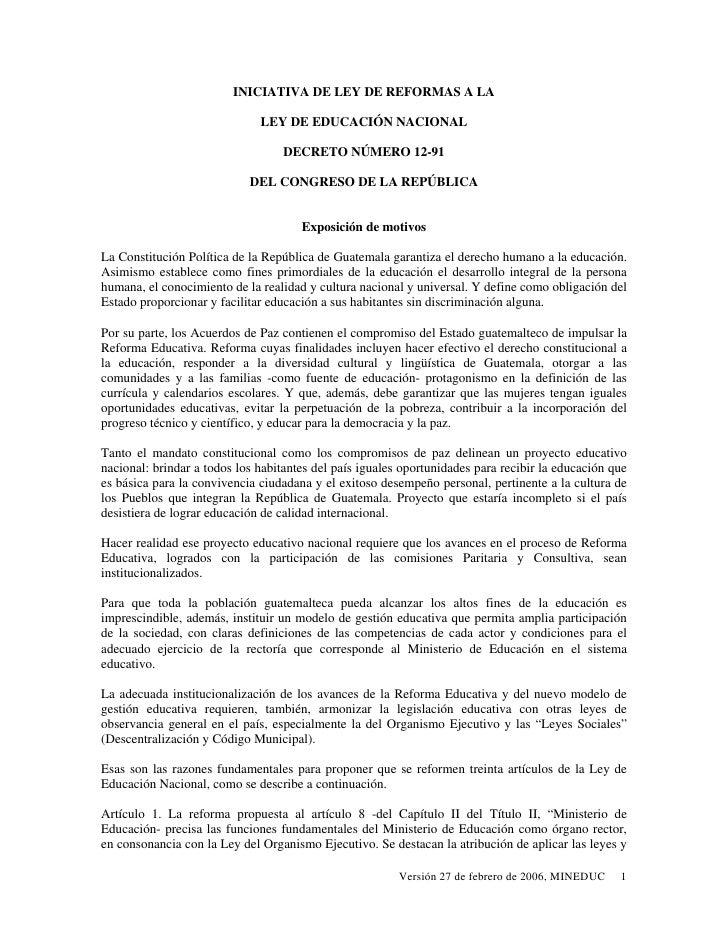 INICIATIVA DE LEY DE REFORMAS A LA                                LEY DE EDUCACIÓN NACIONAL                               ...