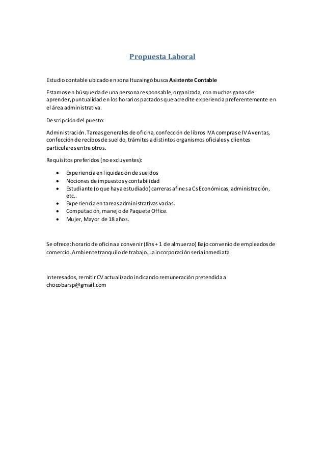Propuesta Laboral Estudiocontable ubicadoenzonaItuzaingòbusca Asistente Contable Estamosen búsquedade unapersonaresponsabl...