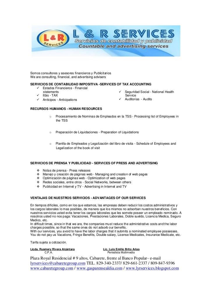 Propuesta L&R Services
