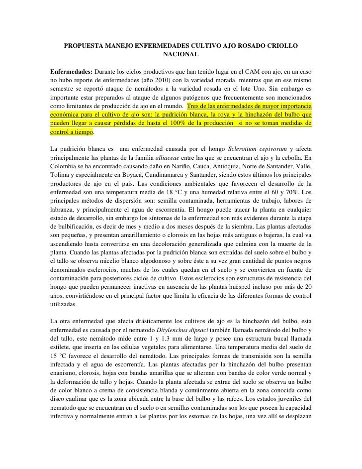 PROPUESTA MANEJO ENFERMEDADES CULTIVO AJO ROSADO CRIOLLO                            NACIONALEnfermedades: Durante los cicl...