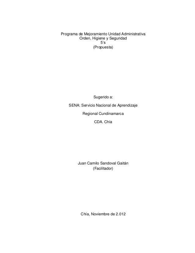 Programa de Mejoramiento Unidad Administrativa         Orden, Higiene y Seguridad                     5's                 ...