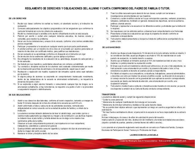 REGLAMENTO DE DERECHOS Y OBLIGACIONES DEL ALUMNO Y CARTA COMPROMISO DEL PADRE DE FAMILIA O TUTOR.                         ...