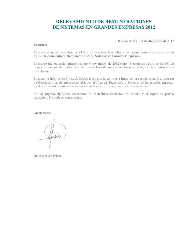 RELEVAMIENTO DE REMUNERACIONES               DE SISTEMAS EN GRANDES EMPRESAS 2012                                         ...
