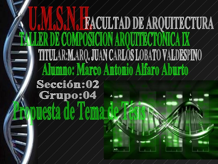 Propuestas de temas de tesis for Tesis de arquitectura ejemplos