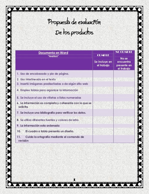 Propuesta de evaluación                                  De los productos                  Documento en Word              ...
