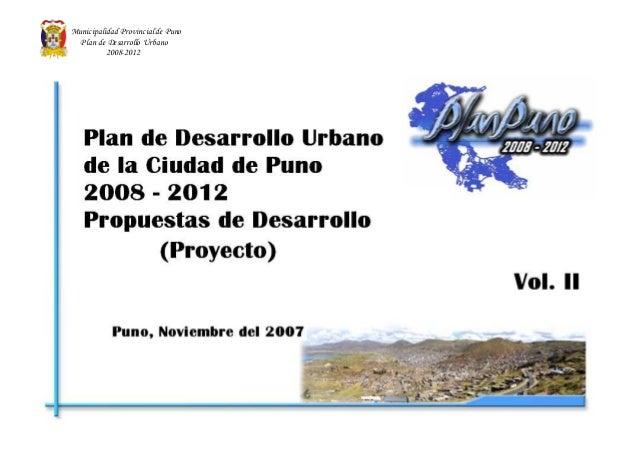 Municipalidad Provincial de Puno Plan de Desarrollo Urbano 2008-2012