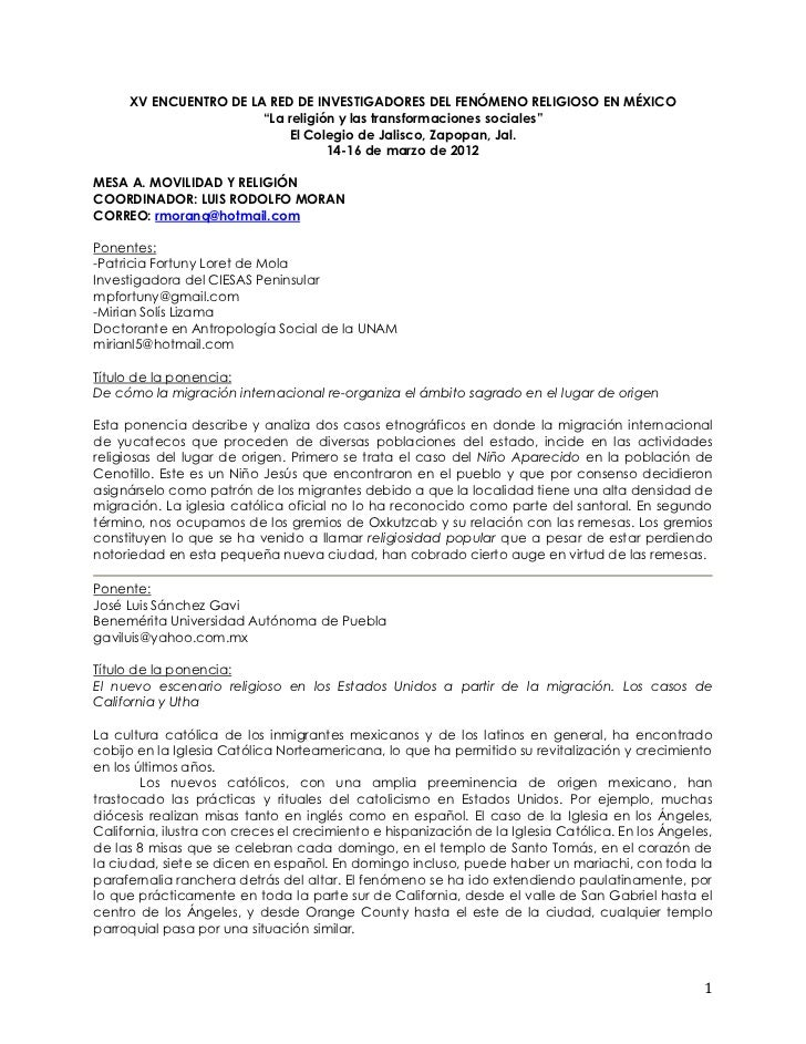 """XV ENCUENTRO DE LA RED DE INVESTIGADORES DEL FENÓMENO RELIGIOSO EN MÉXICO                       """"La religión y las transfo..."""