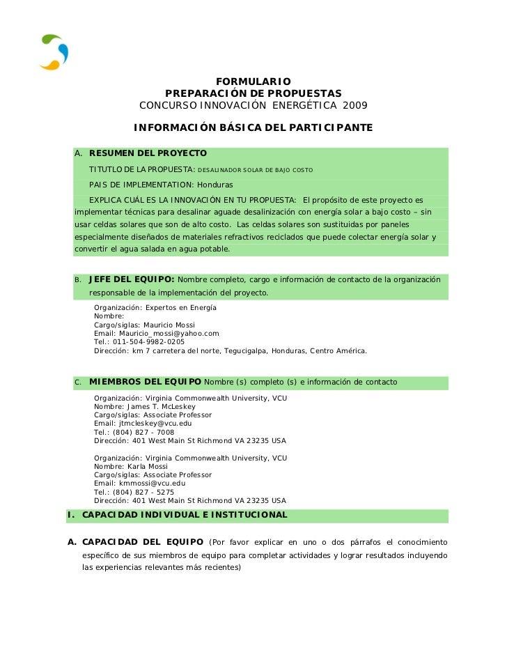 FORMULARIO                         PREPARACIÓN DE PROPUESTAS                     CONCURSO INNOVACIÓN ENERGÉTICA 2009      ...