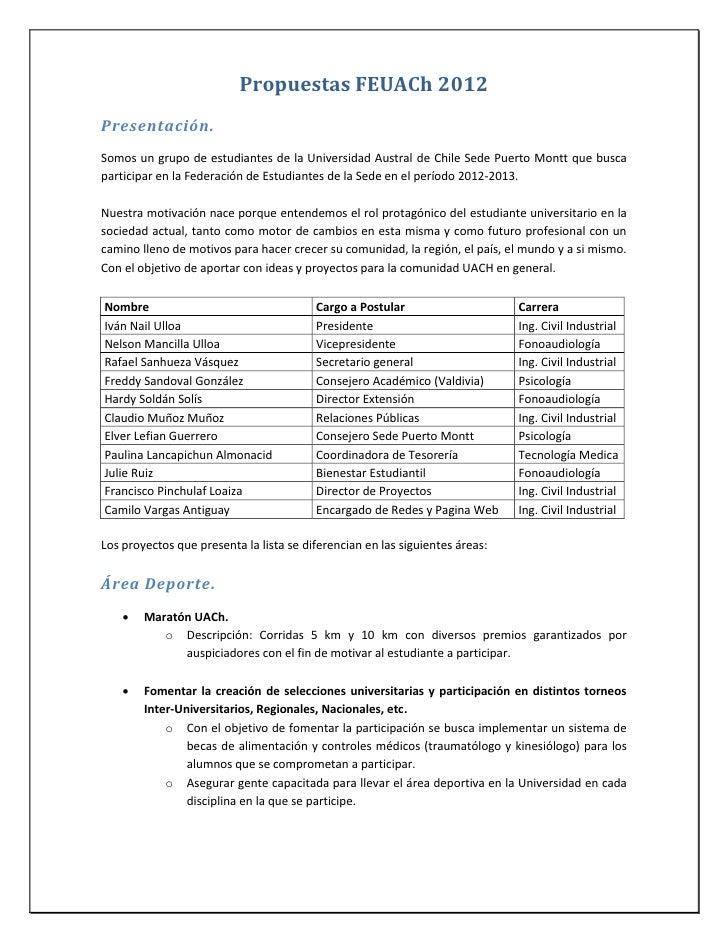 Propuestas lista FEUACh 2012