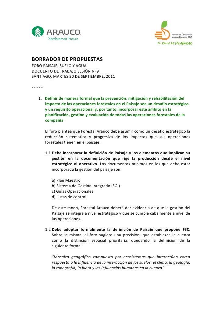 BORRADOR DE PROPUESTASFORO PAISAJE, SUELO Y AGUADOCUENTO DE TRABAJO SESIÓN Nº9SANTIAGO, MARTES 20 DE SEPTIEMBRE, 2011-----...
