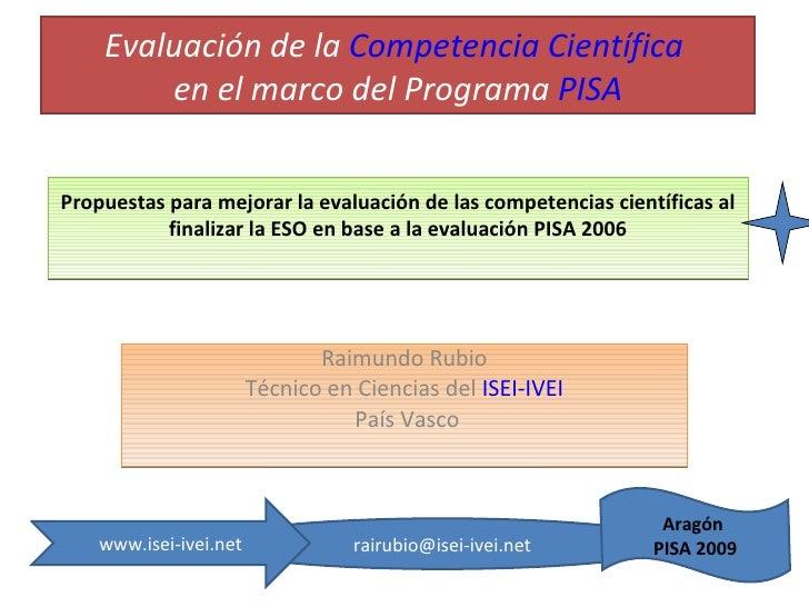 Propuestas Para Mejorar La EvaluacióN De Las Competencias Aragon 2009
