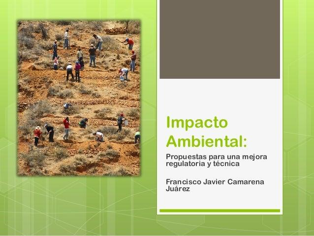 ImpactoAmbiental:Propuestas para una mejoraregulatoria y técnicaFrancisco Javier CamarenaJuárez