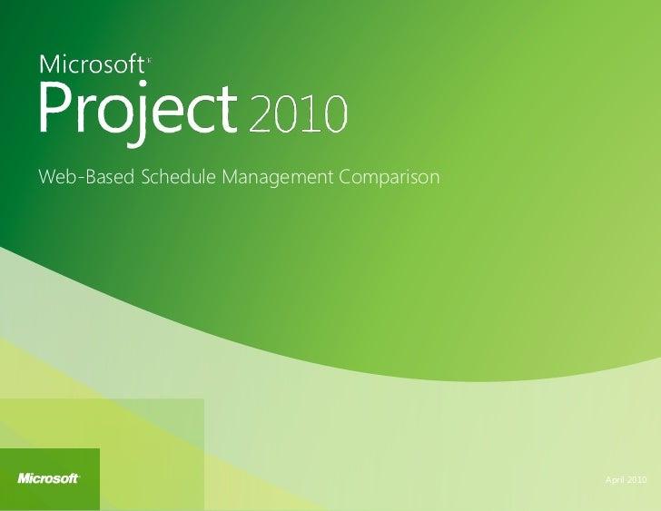Web-Based Schedule Management Comparison                                           April 2010