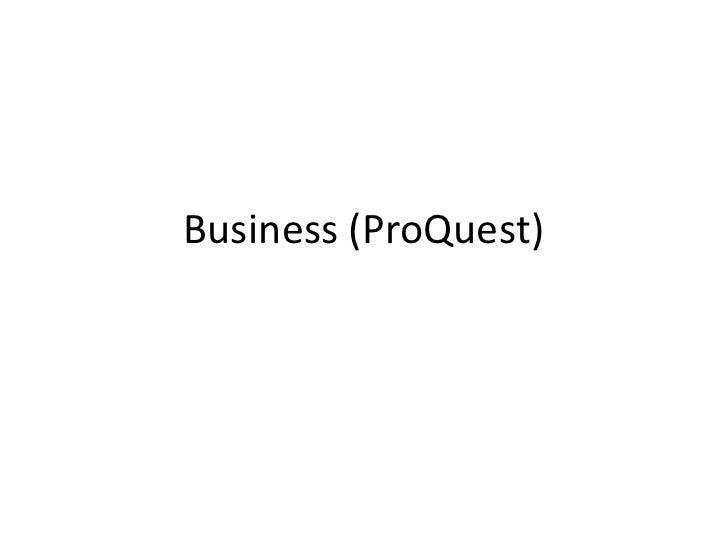 ProQuest's Business Module