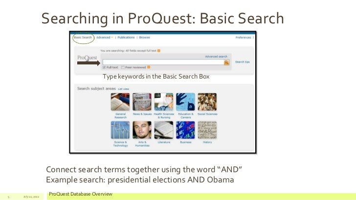 Proquest database search