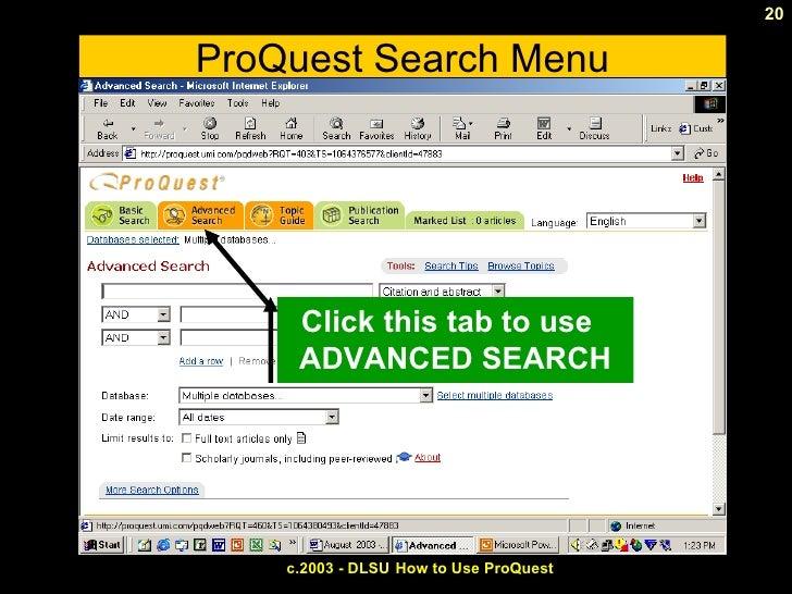 Pro quest search