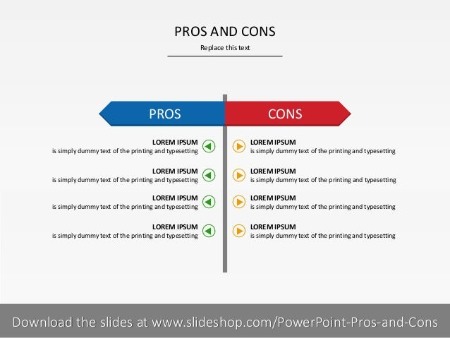 PROS AND CONS Replace this text  PROS LOREM IPSUM is simply dummy text of the printing and typesetting  LOREM IPSUM is sim...