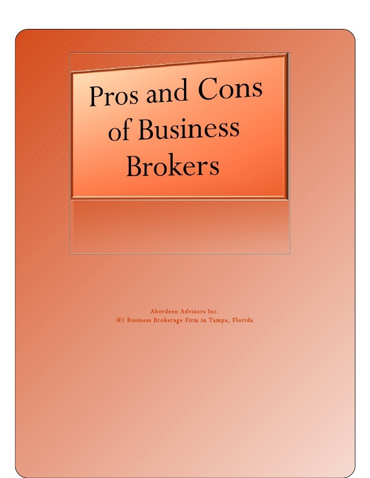 Pros and Cons of Business Brokers