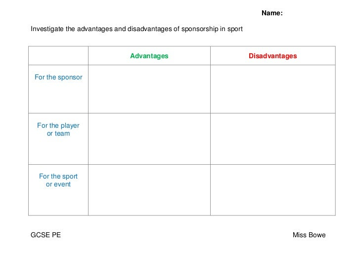 AdvantagesDisadvantagesFor the sponsorFor the playeror teamFor the sport or event<br />