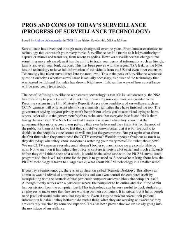 PROS AND CONS OF TODAY'S SURVEILLANCE (PROGRESS OF SURVEILLANCE TECHNOLOGY) Posted by Andrew Arismunandar in ITGS 11 on Fr...
