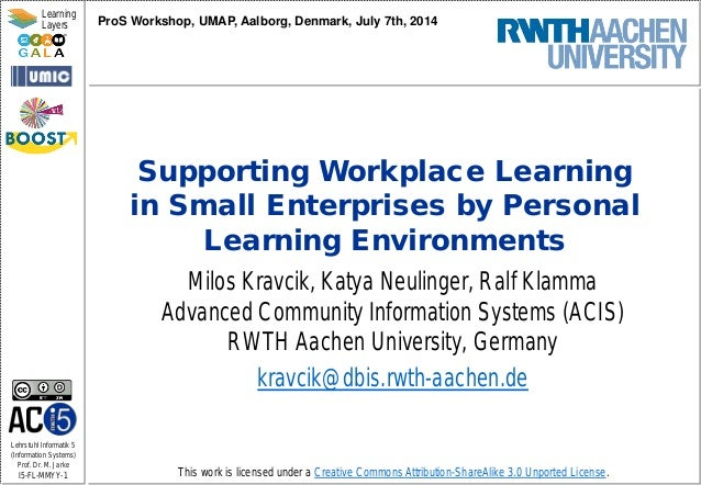 Supporting Workplace Learning in Small Enterprises by Personal Learning Environments