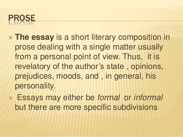 prose essay writing This course includes both fiction and nonfiction prose  writing exercises creative writing 101 is for beginners or anyone who wants  essay, feature articles.