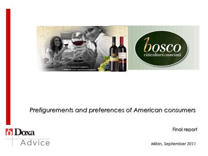 Prefigurements and preferences of American consumers    Final report Milan, September 2011