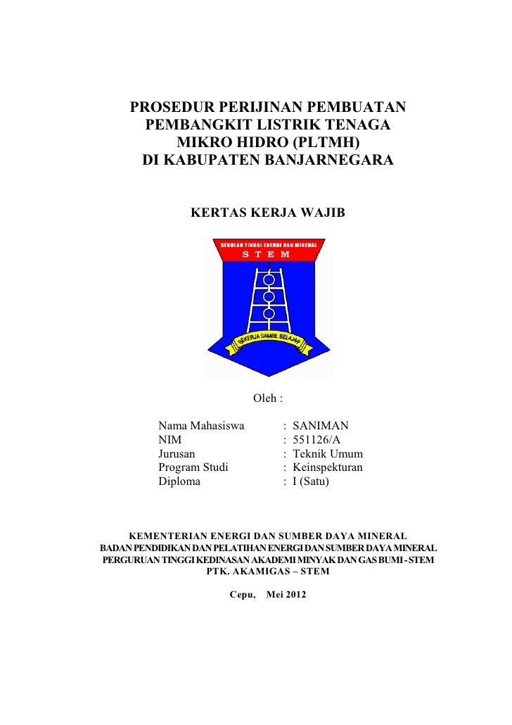PROSEDUR PERIJINAN PEMBUATAN       PEMBANGKIT LISTRIK TENAGA          MIKRO HIDRO (PLTMH)      DI KABUPATEN BANJARNEGARA  ...