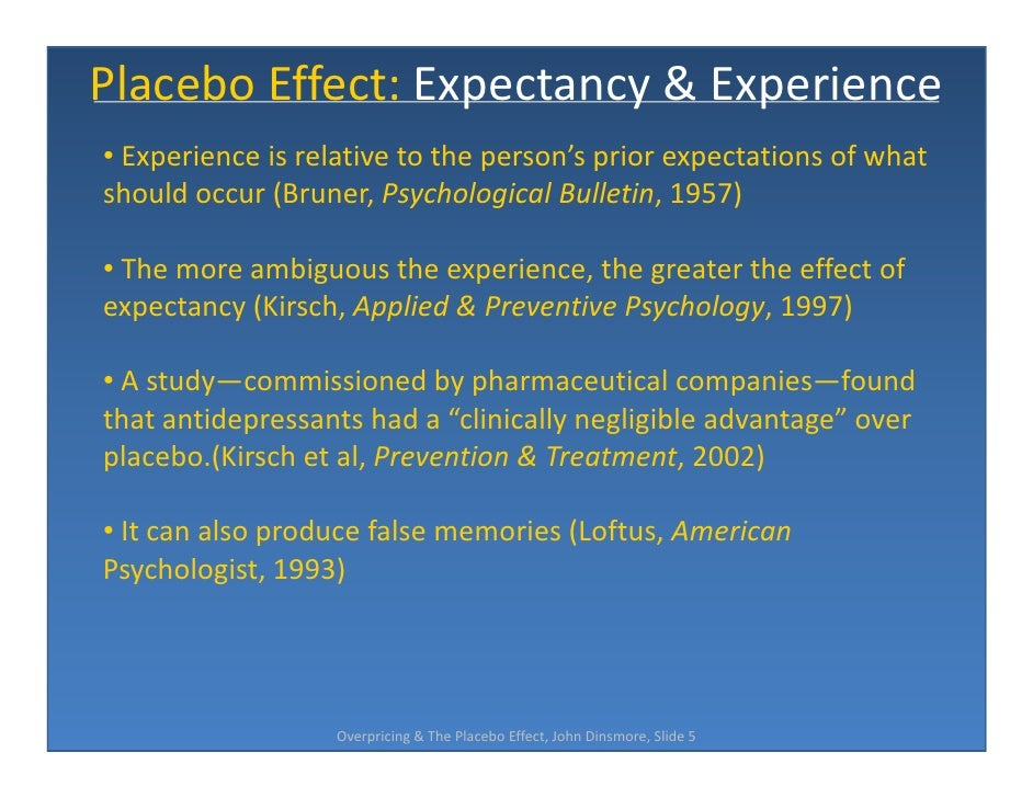 placebo effects of marketing actions A large body of research has examined effects of aspects that are inherent to a placebo we present three experiments that document undesirable placebo effects that result from price discounts and its results suggest that price discounts can lead to a behavioral effect—we refer to this as a placebo effect of marketing action in this research.