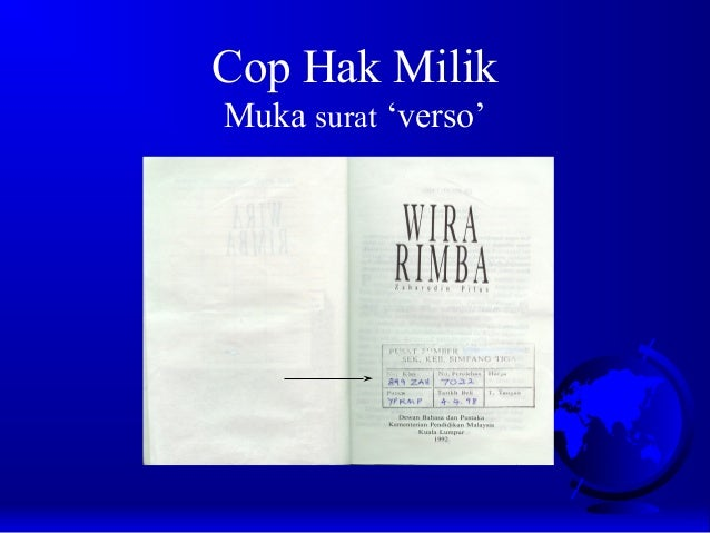Cop Hak Milik Muka surat 'verso'