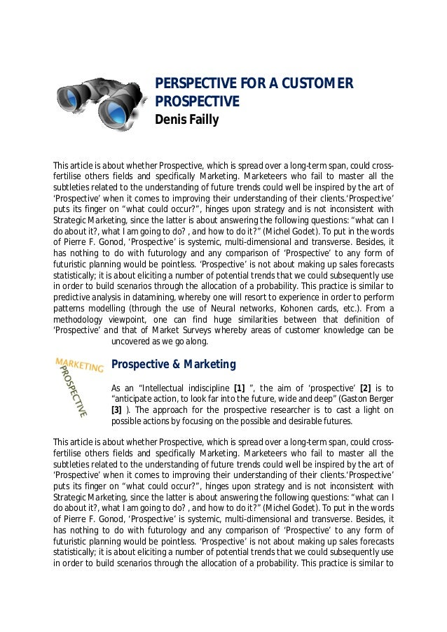 Prospective for a customer perspective - Denis Failly