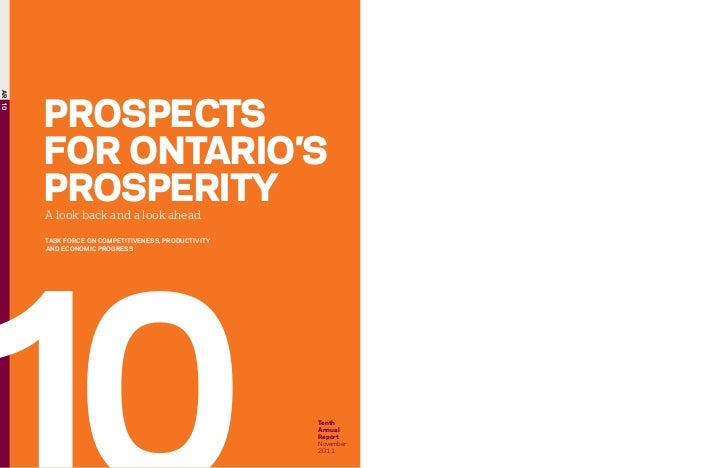 Prospects For Ontario 2011 Task Force On Competitiveness, Productivity And Economic Progress