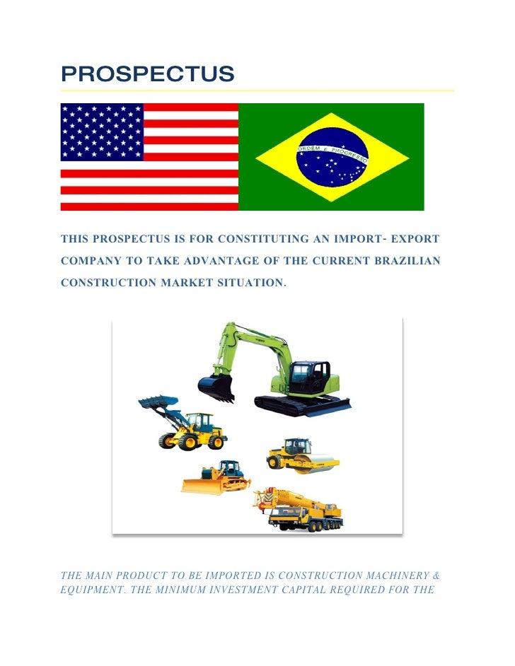 Prospectus   Construction Equipment Imports