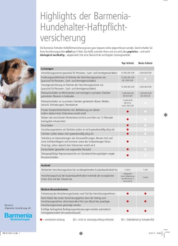 Highlights der Barmenia-                                Hundehalter-Haftpflicht-                                versicheru...
