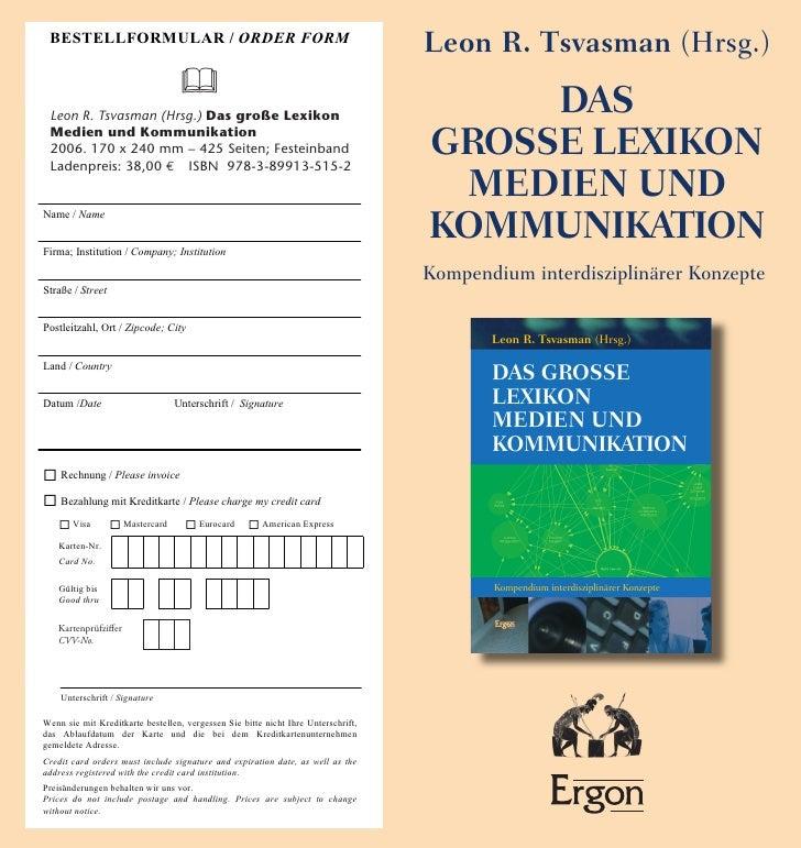 """""""Das große Lexikon Medien und Kommunikation""""  von Leon R. Tsvasman (Hrsg.)  - Verlagsprospekt"""